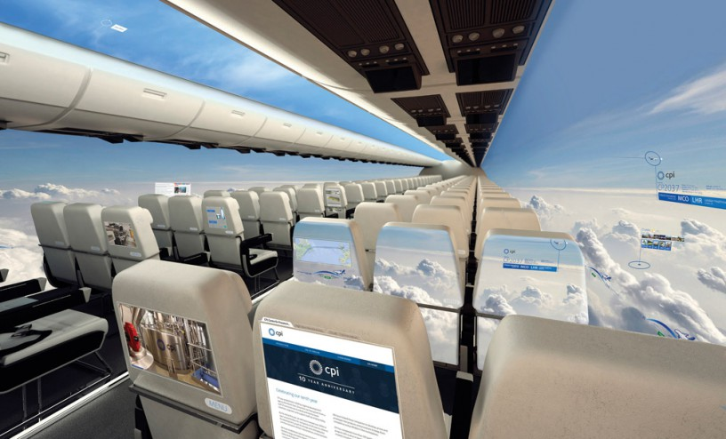 New OLED technology for the windowless plane cabin